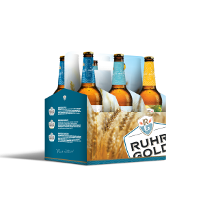 six-pack ruhrgold with 2 lager, 2 radler and 2 weizen
